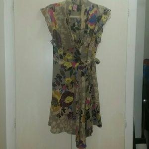Anthropologie Pinkerton silk wrap dress floral M